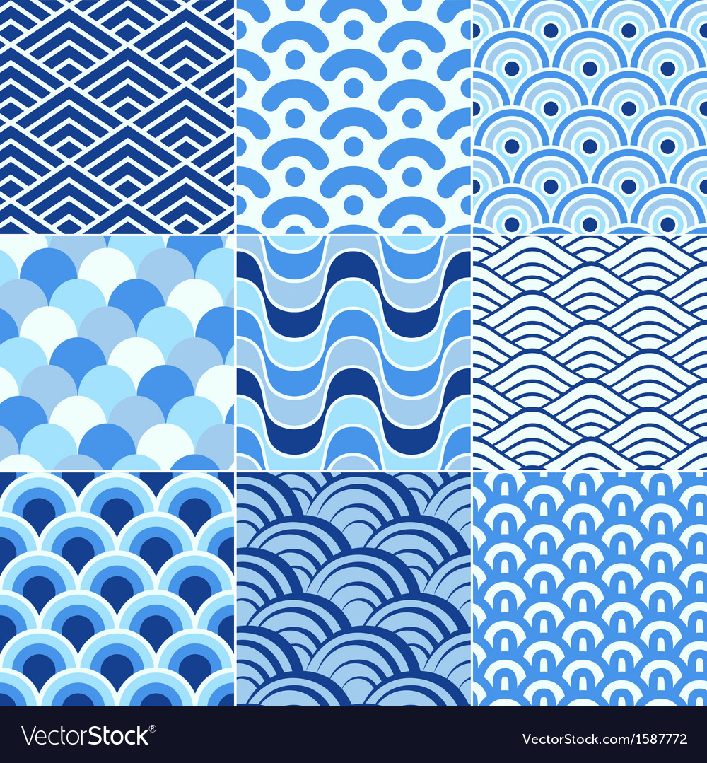 Blue Colored Drawing Of The Ocean Wave Pattern Royalty Free ...