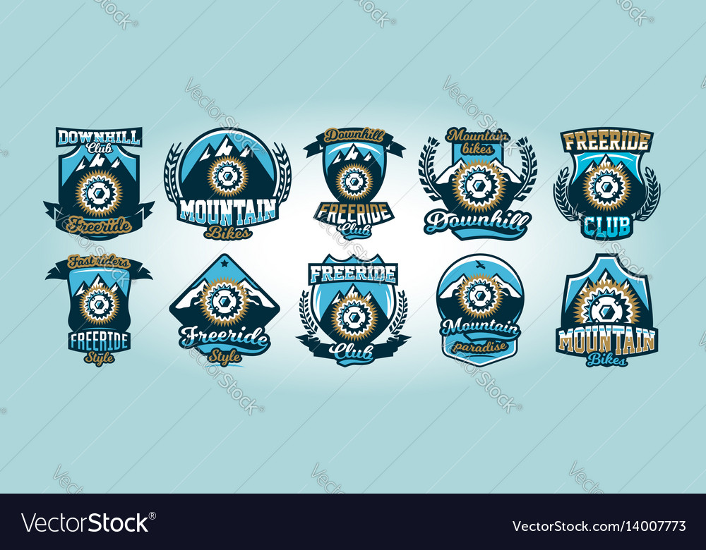 Colorful set of logos emblems bicycle sprocket vector image