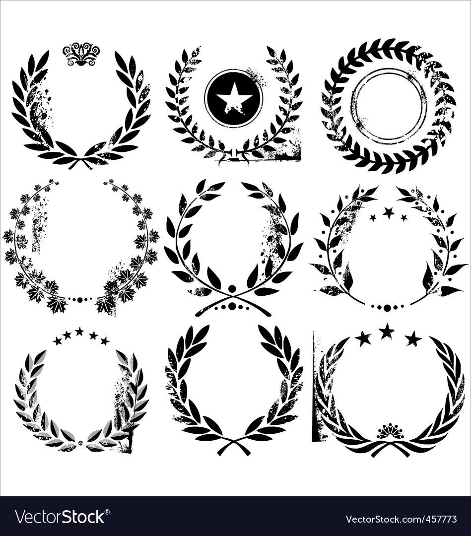 Grunge laurel wreaths vector image