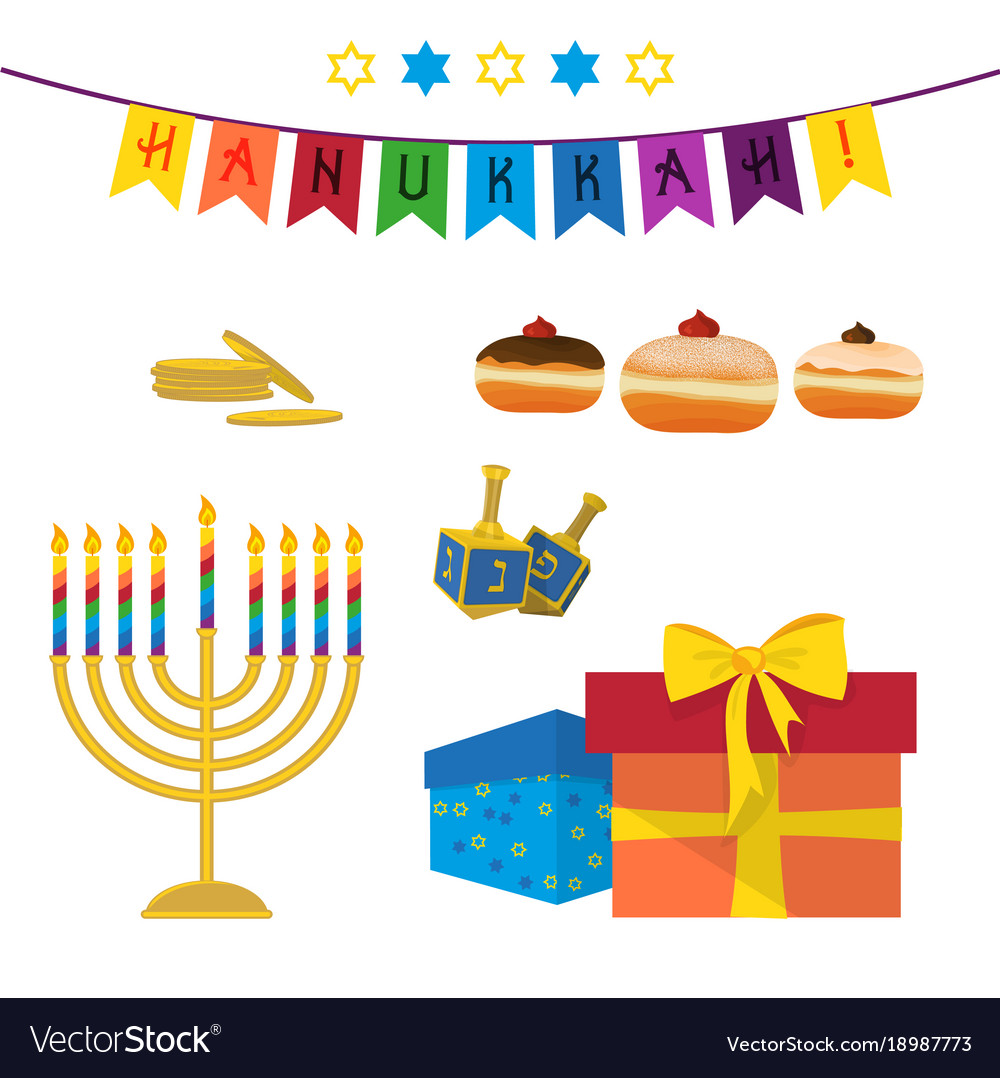 Jewish holiday of hanukkah symbols set royalty free vector jewish holiday of hanukkah symbols set vector image biocorpaavc