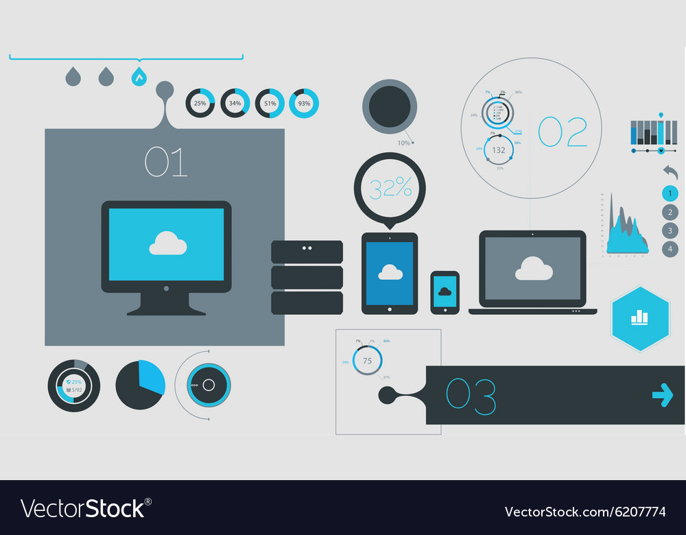 Flat UI template and infographics vector image