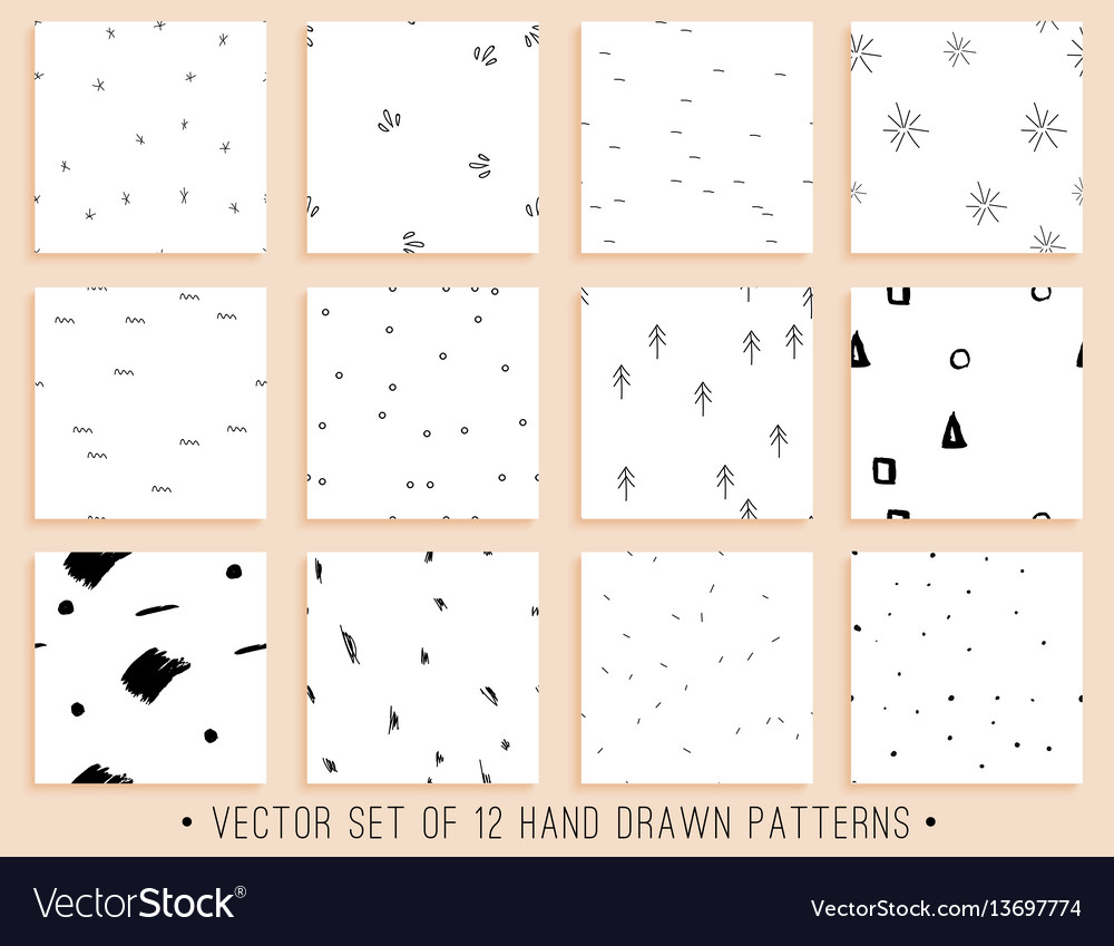 Handdrawn seamless pattern collection vector image