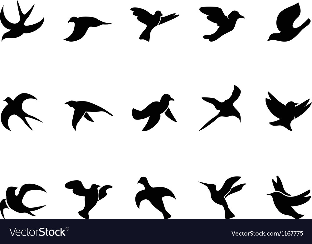 Simple birds flying Silhouettes Vector Image by huhulin ...