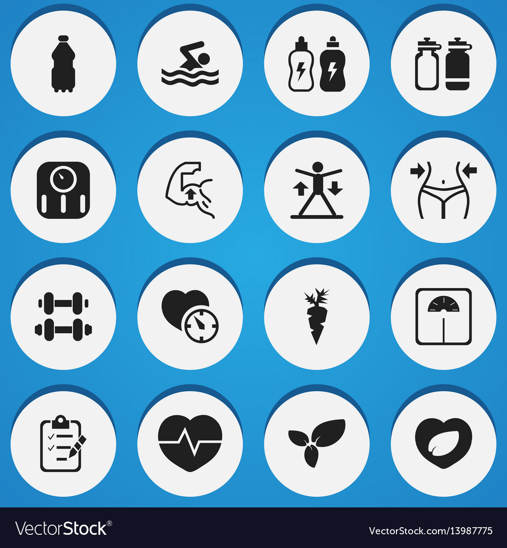 Set of 16 editable training icons includes vector image
