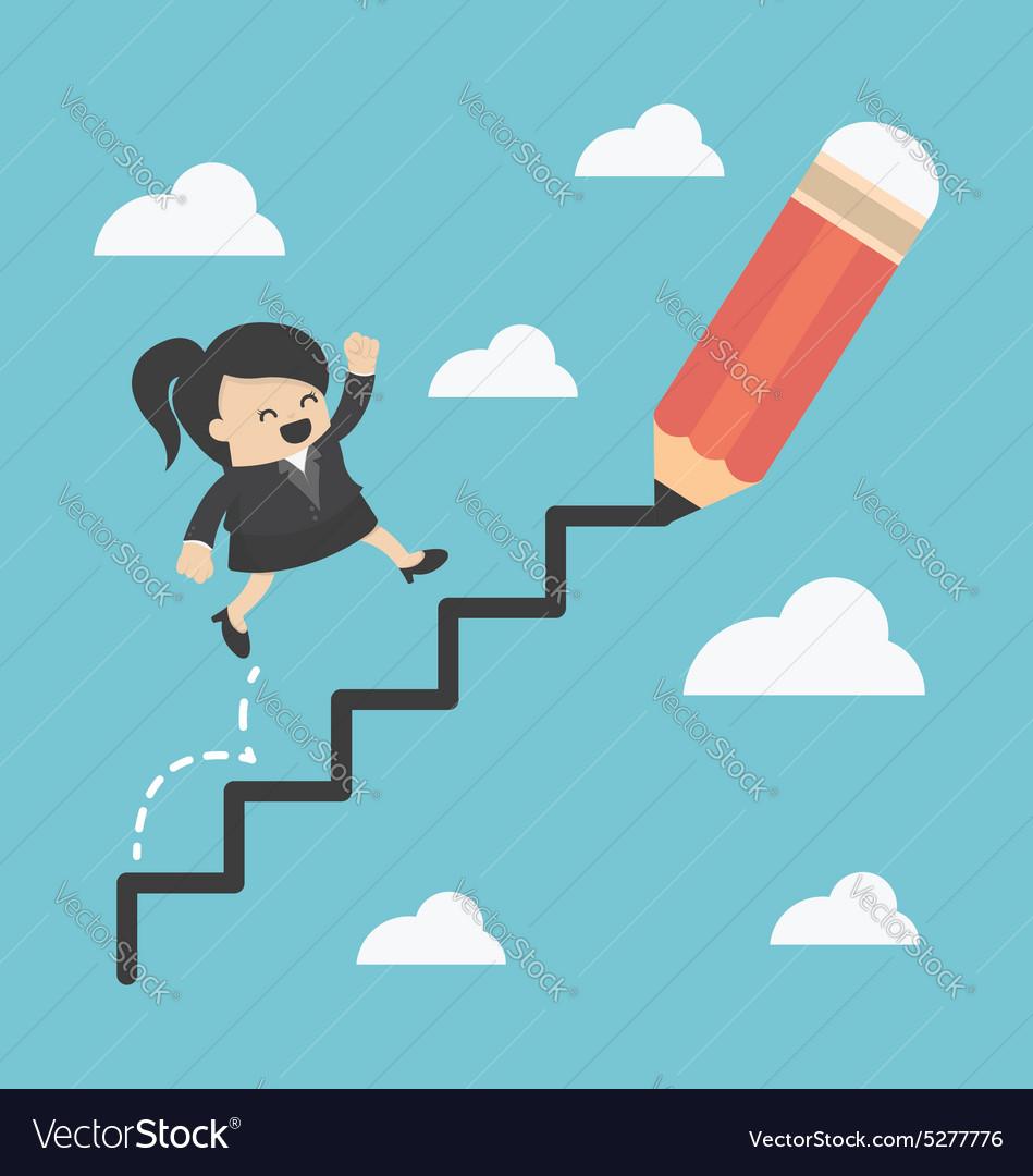 Business Woman climbing ladder of success vector image