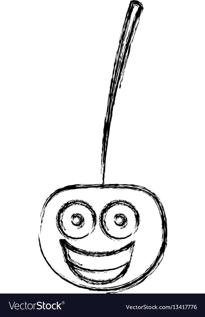 Silhouette kawaii happy cherry icon vector image