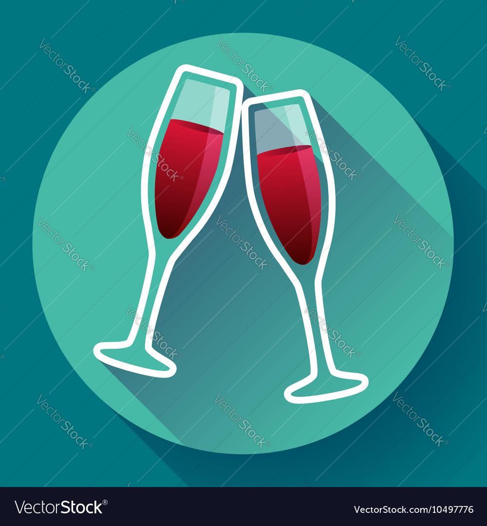 Two glasses of wine flat icon - celebration symbol vector image