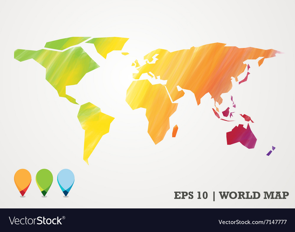 Colorful paper cut world map water color abstract vector image gumiabroncs Gallery