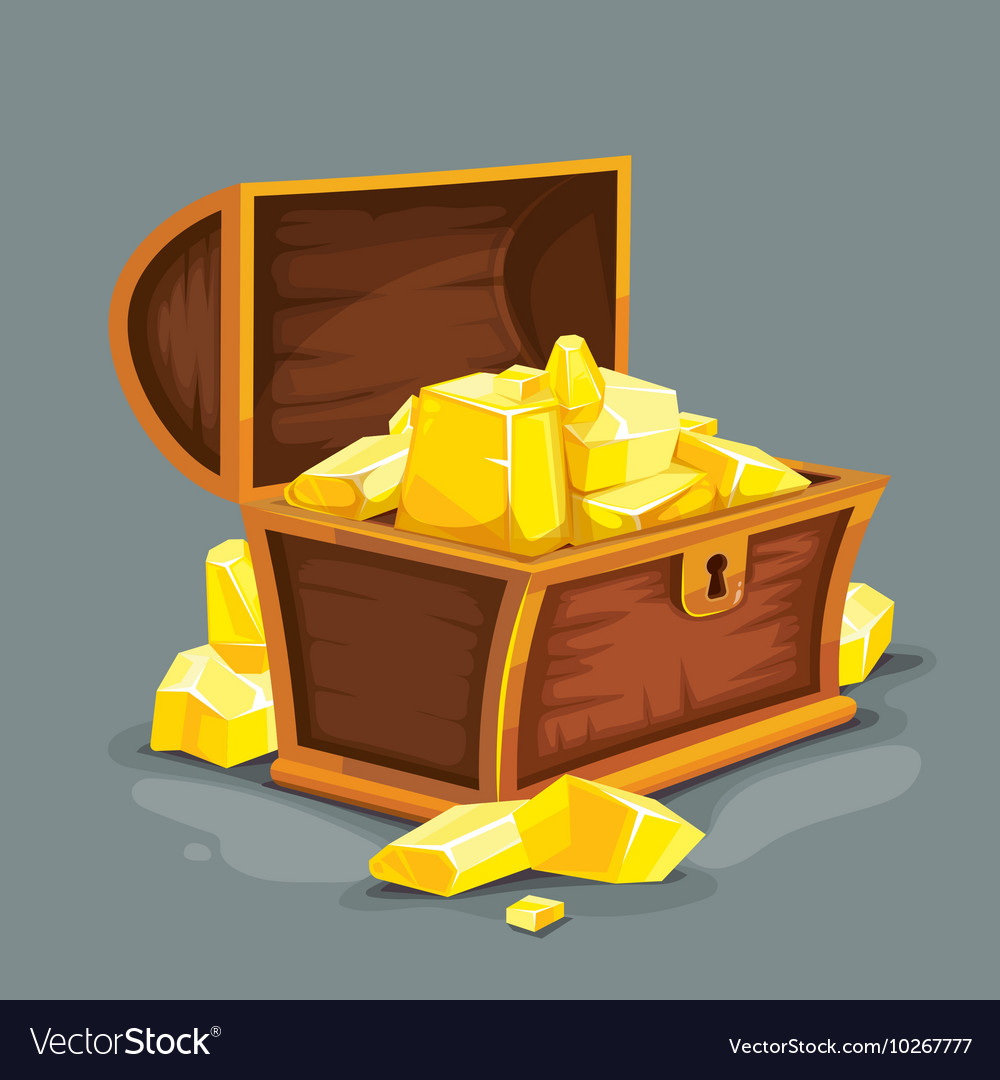 Vintage wooden chest with vector image