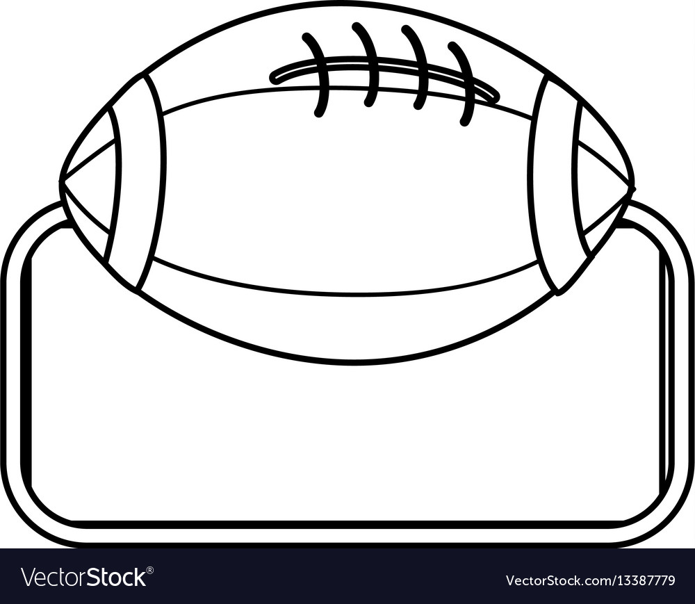 Silhouette frame with football ball icon sport vector image