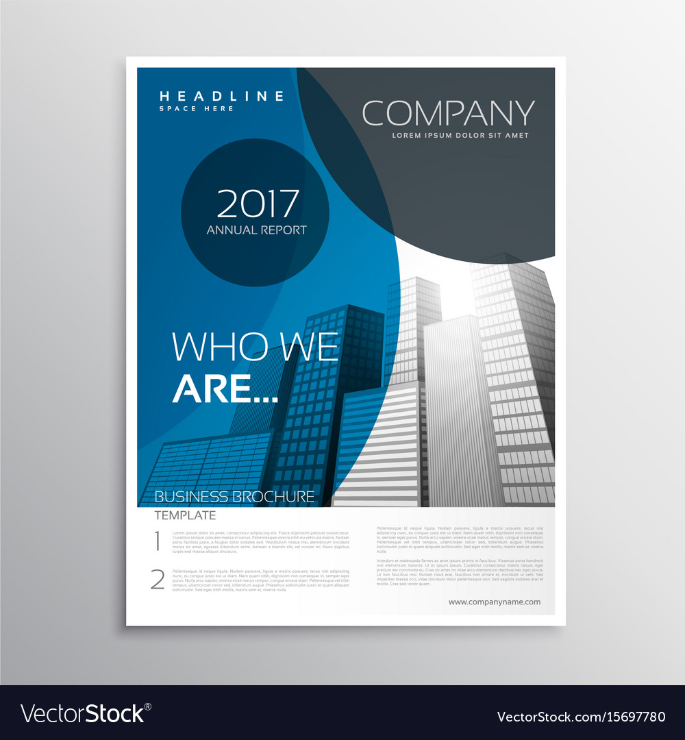 Blue Business Brochure Cover Page Template Design Vector Image - Business brochure template