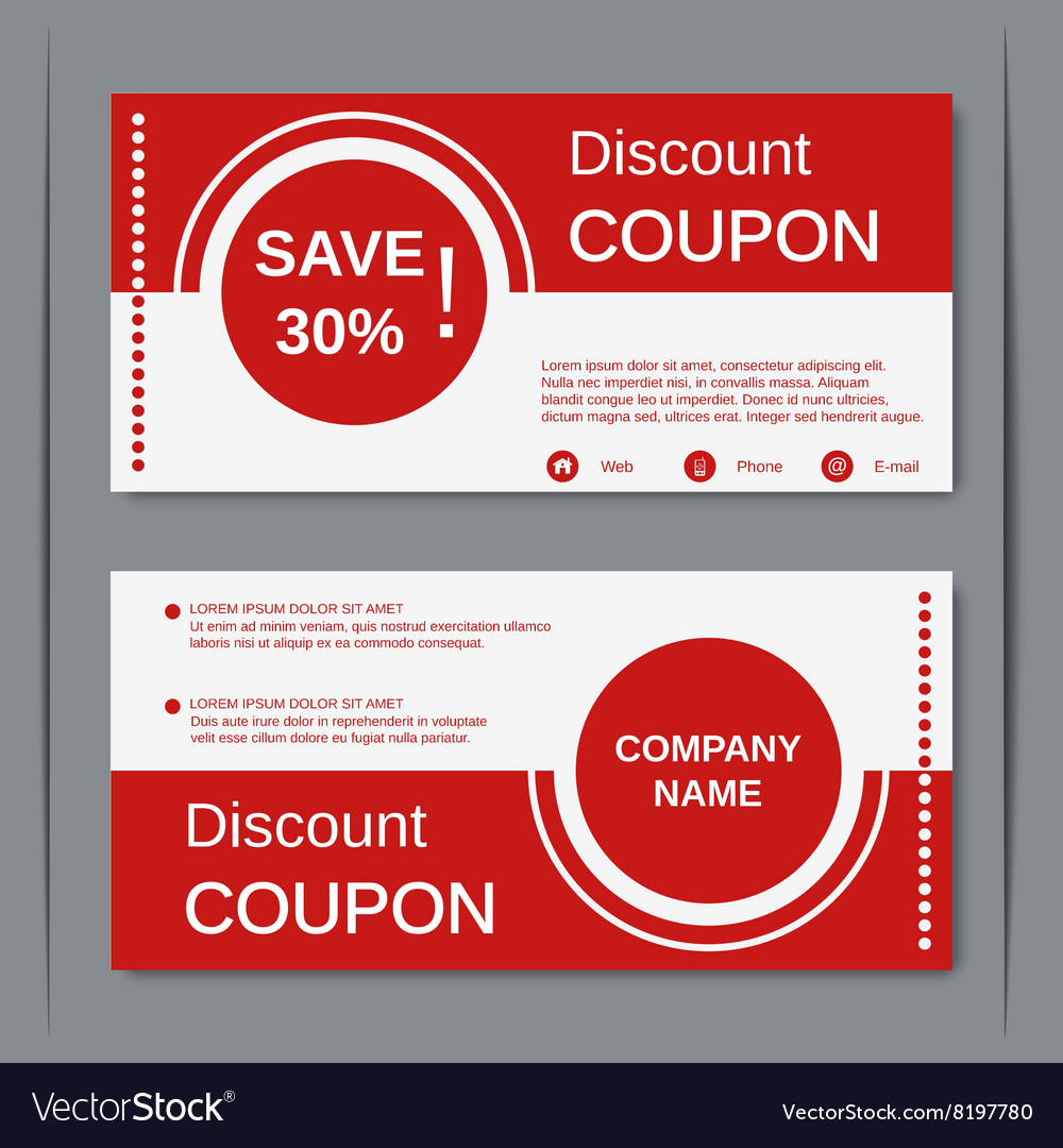 Discount Coupon Design Template Vector Image  Free Voucher Design Template