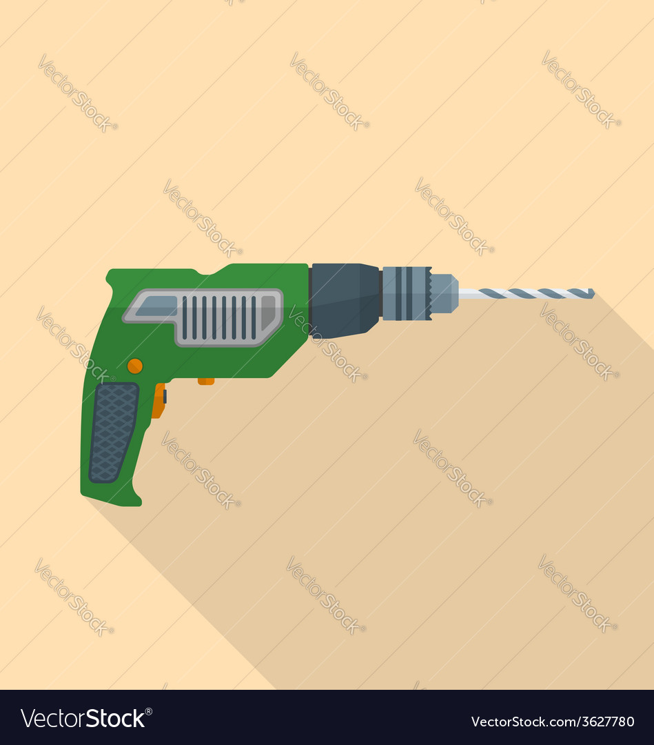 Flat style electric hand drill icon with shadow vector image