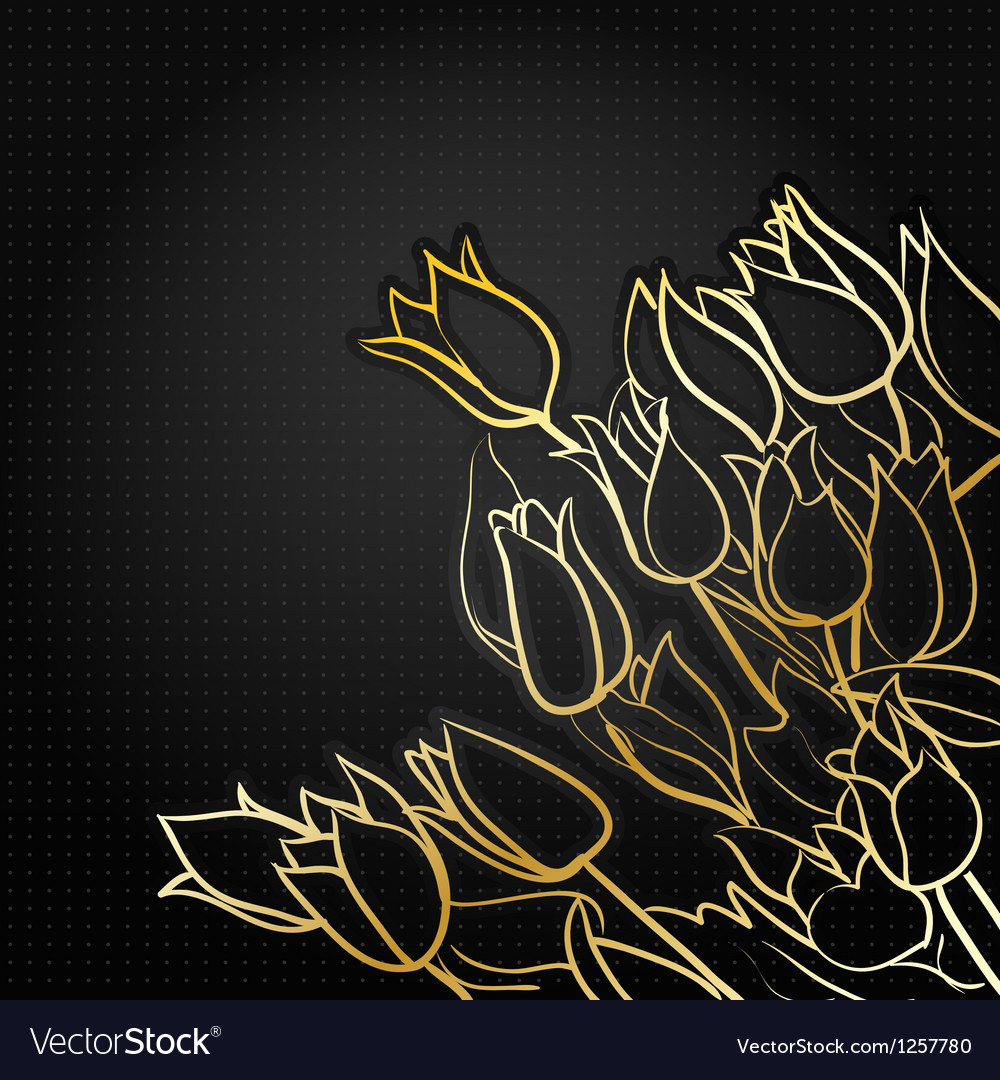 Tulips on black vector image