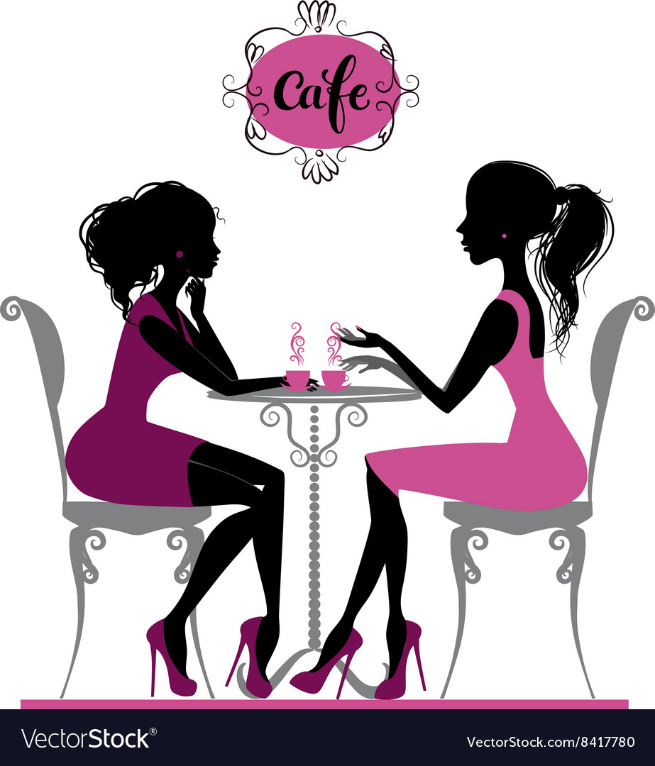 Two girls in cafe vector image