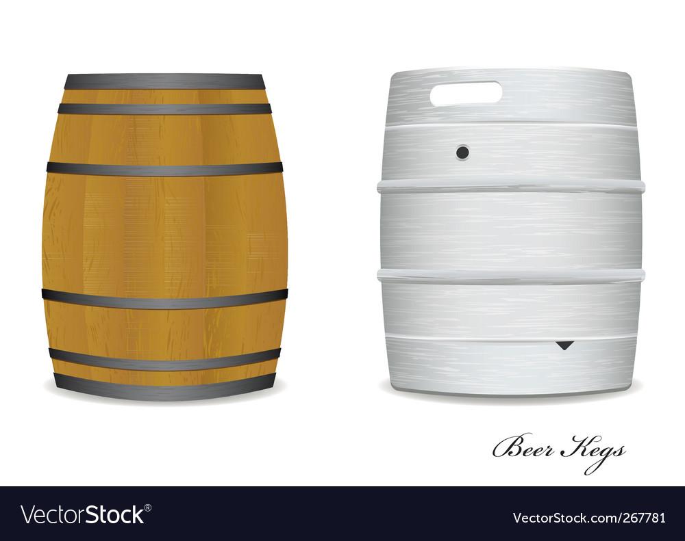 Beer keg barrel pair vector image