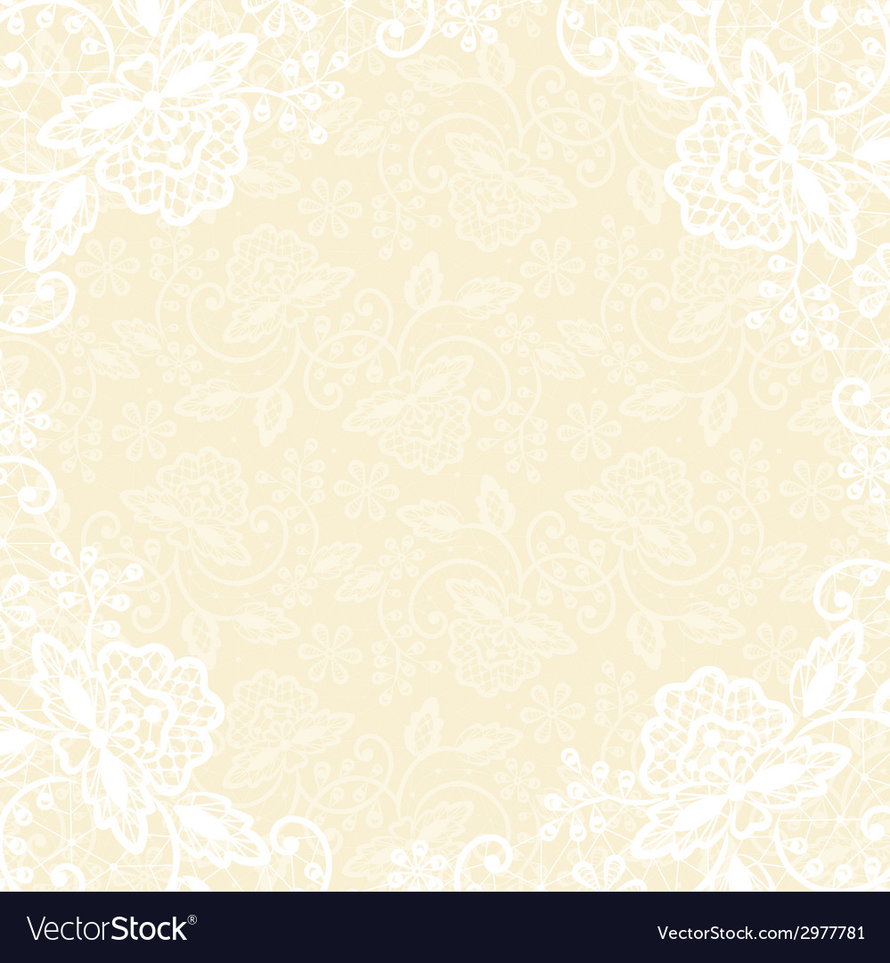 White lace on yellow background vector image