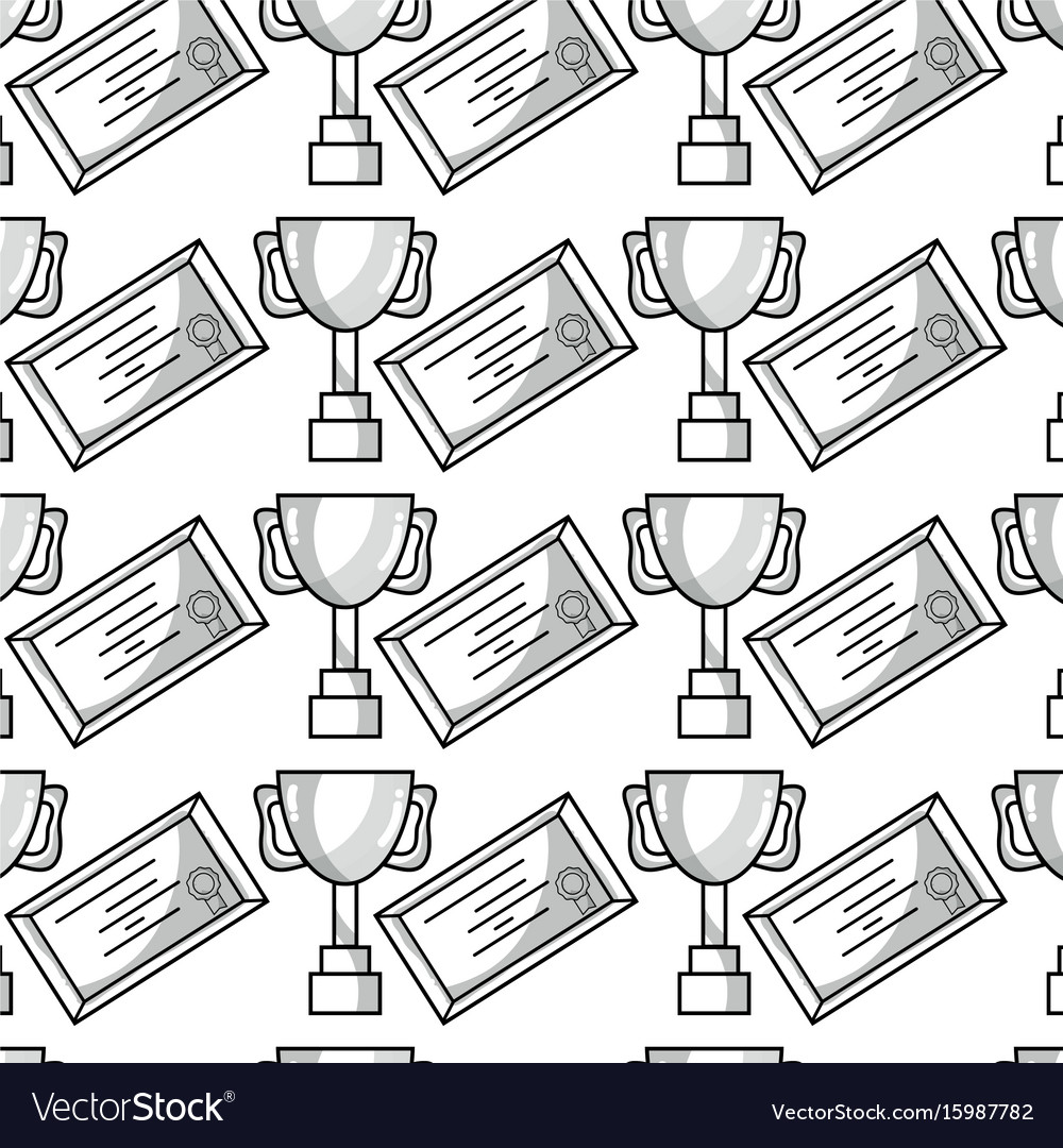 Cup prize symbol and diploma graduation background vector image