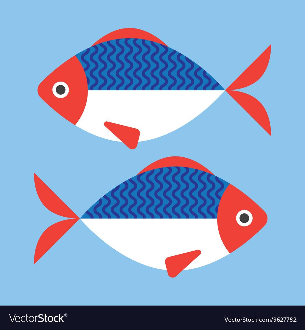 Fish flat style vector image