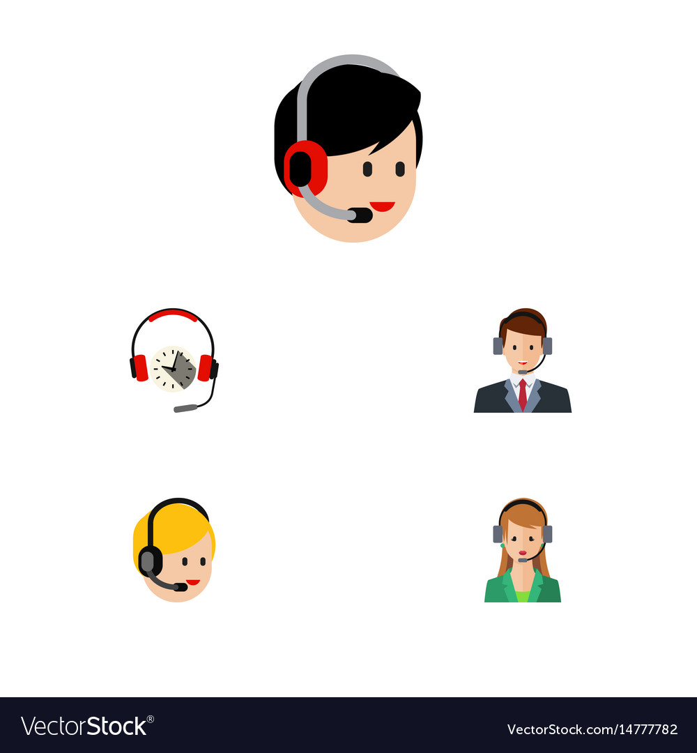 Flat telemarketing set of operator hotline vector image
