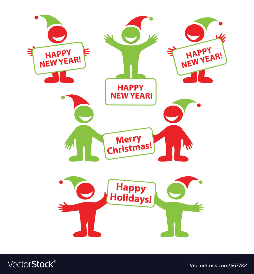 Happy new year signs vector image