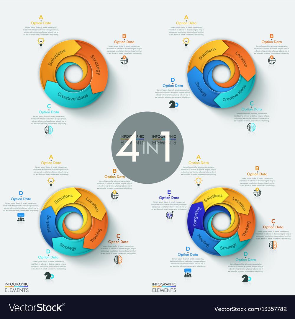 Set of 4 modern circular infographic design vector image