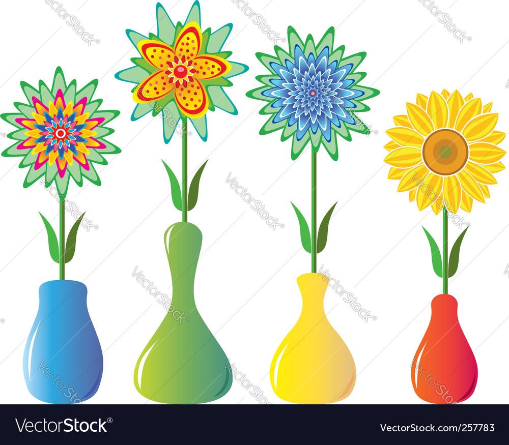 Flowers in vases royalty free vector image vectorstock flowers in vases vector image reviewsmspy