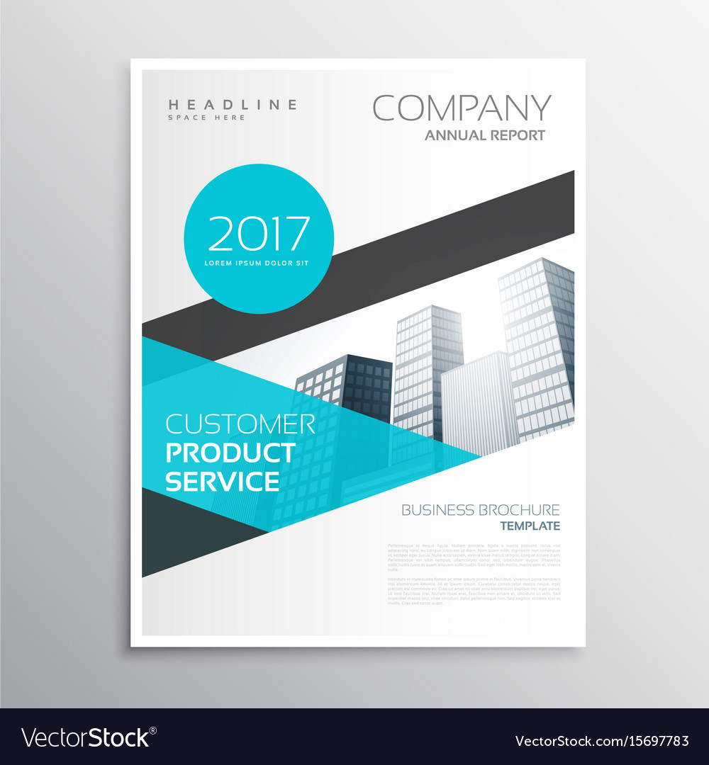 Modern blue business brochure template poster Vector Image