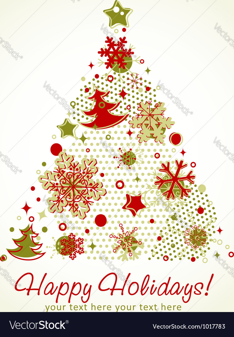 Stylized christmas tree shaped card with snowflake