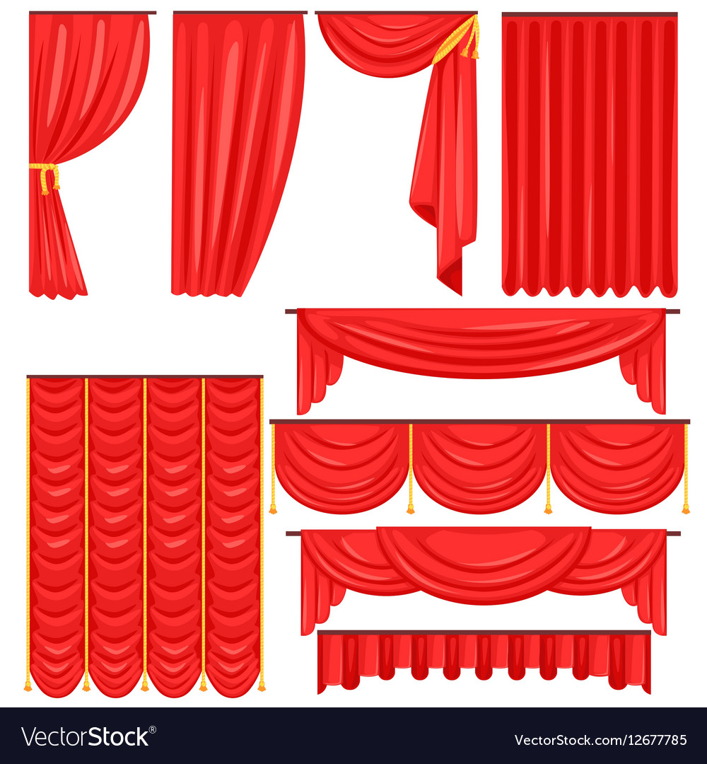 Different Types Of Theatrical Stage Curtain And vector image