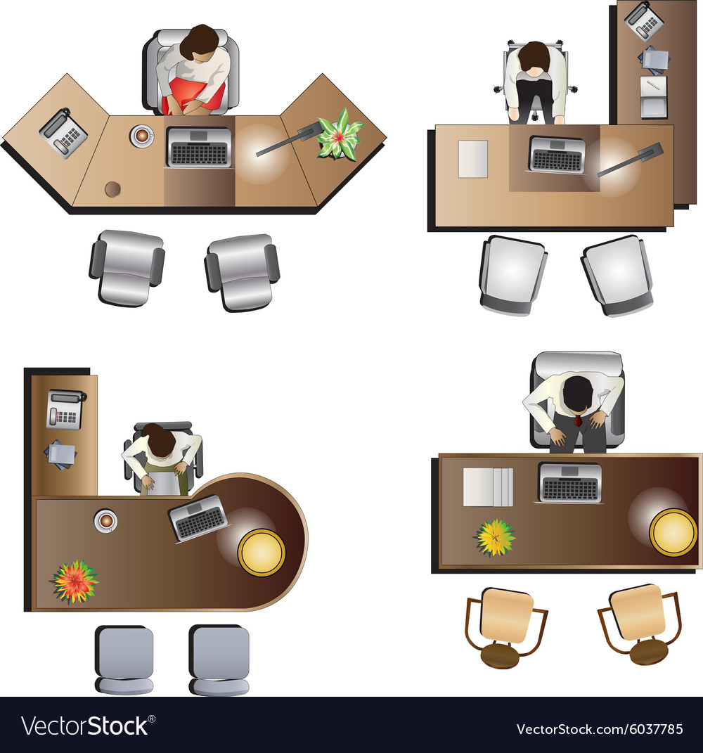 Furniture top view images - Office Furniture Top View Set 6 Vector Image