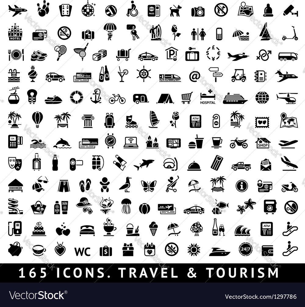 165 icons Travel and Tourism vector image