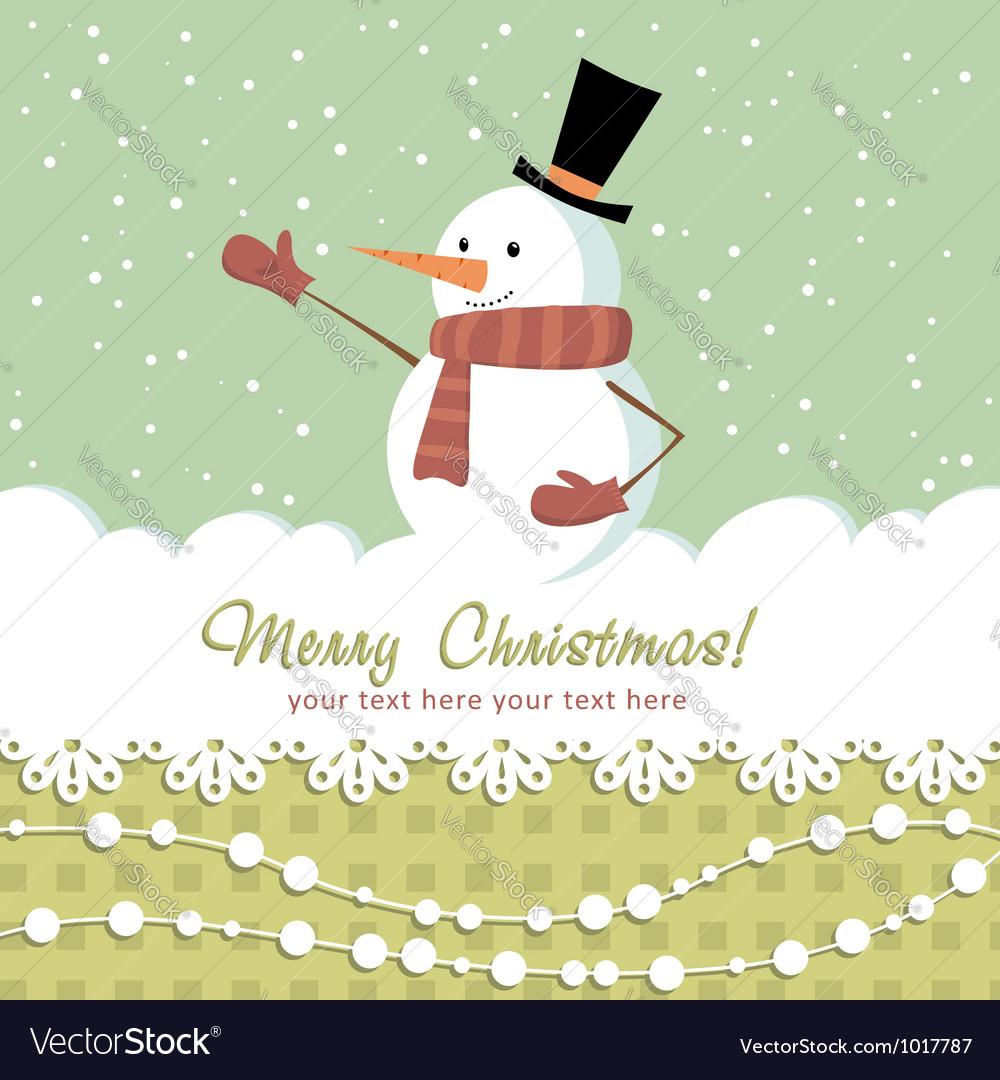 Snowman card green vector image