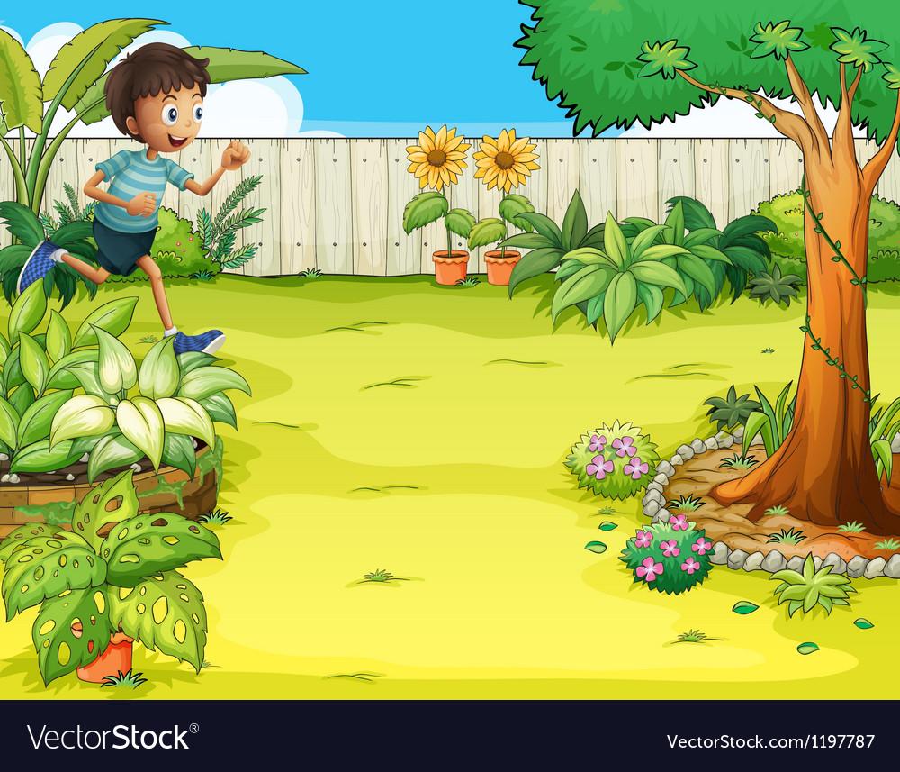 A boy running at the backyard Vector Image