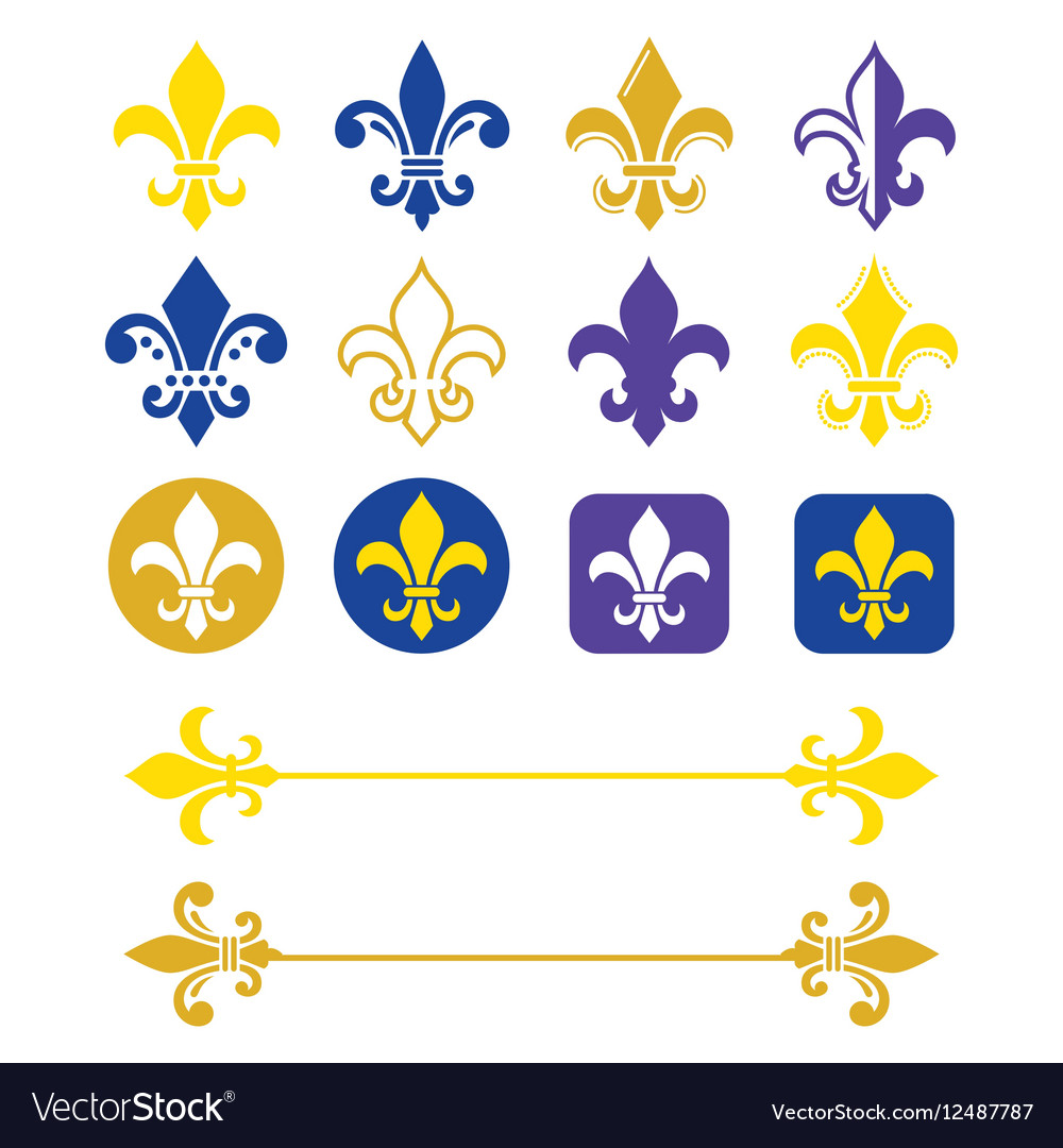 Fleur de lis - French symbol gold and navy blue vector image