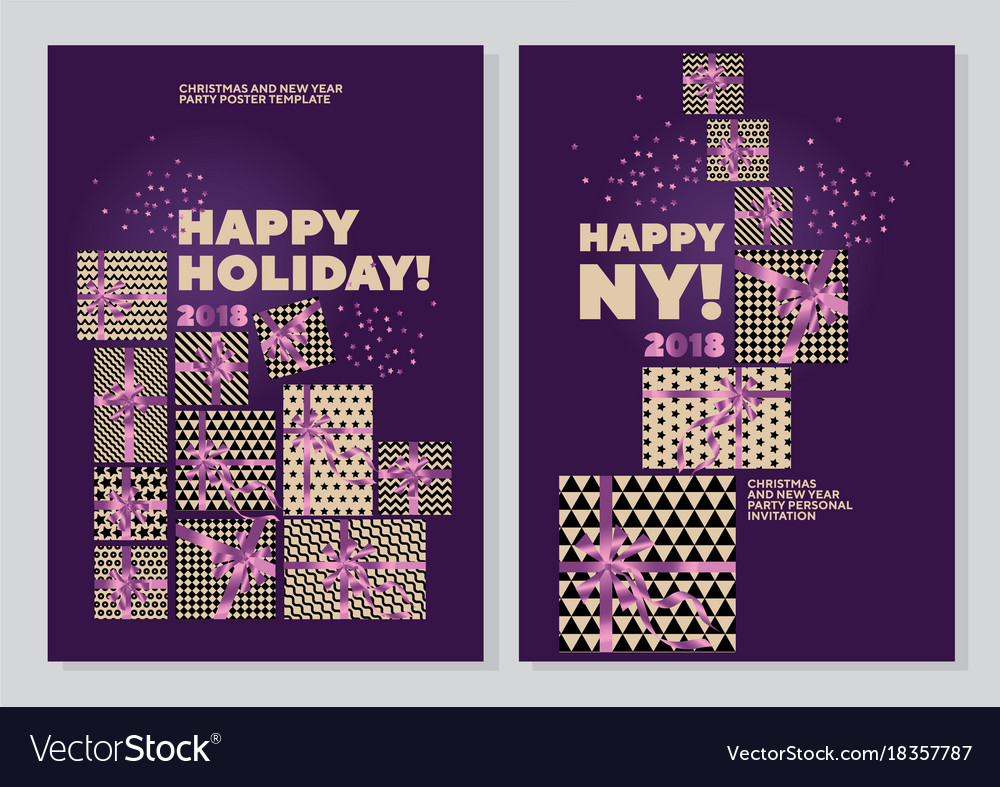 Happy new year and xmas concept poster template Vector Image – New Year Poster Template