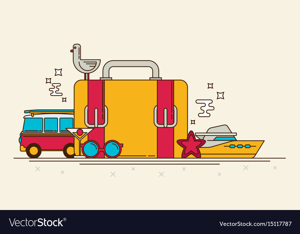 Retro banner of travel summer in the flat style vector image