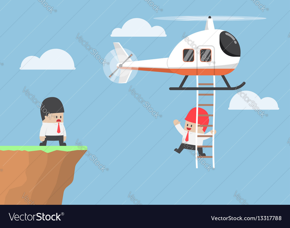 Businessman across the cliff by helicopter vector image