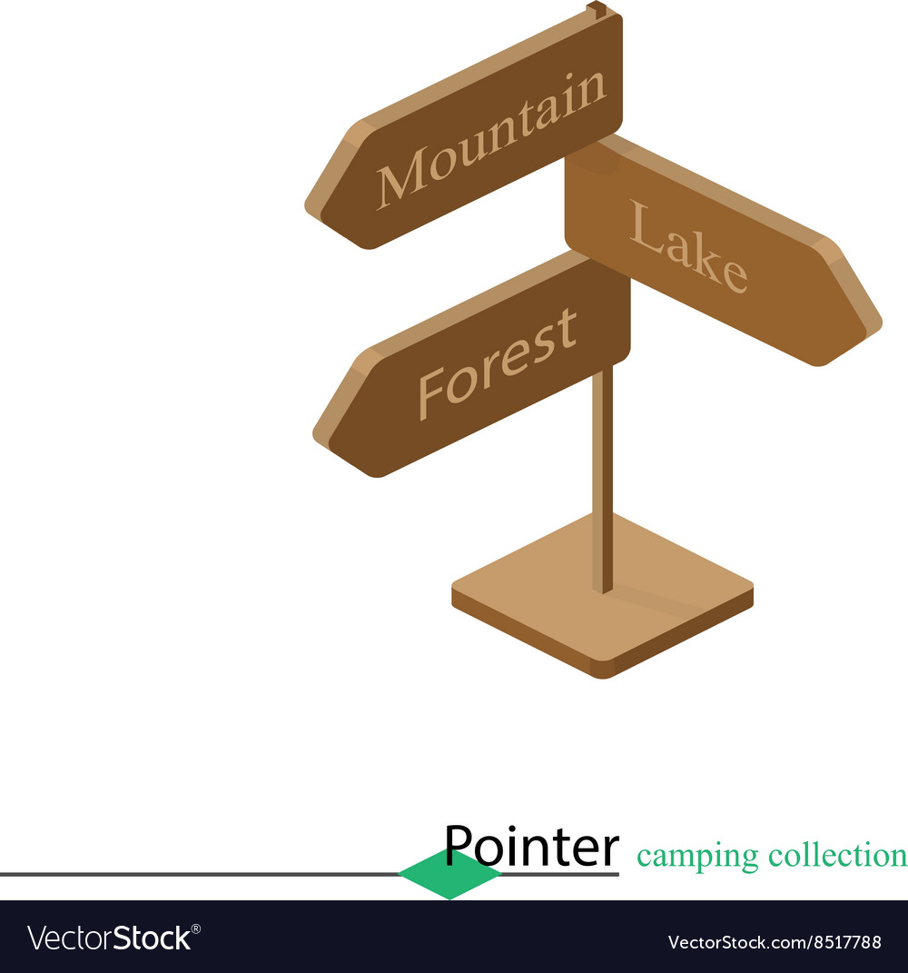 Pointer at the fork of tourism campaign Isometric vector image