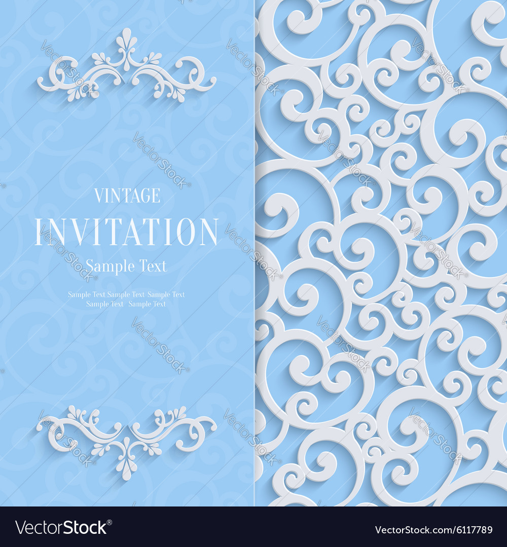Blue 3d vintage invitation card with swirl vector image blue 3d vintage invitation card with swirl vector image stopboris Choice Image