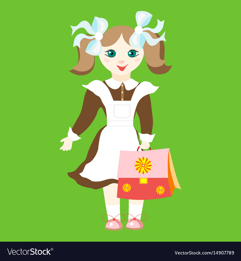 Girl schoolgirl in uniform with blue bows holding vector image