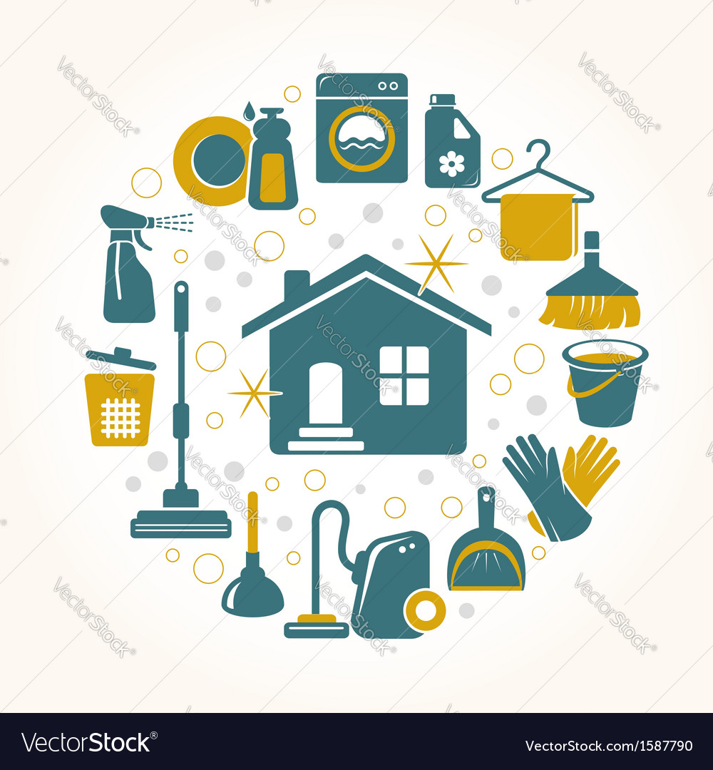 Cleaning tools round card vector image