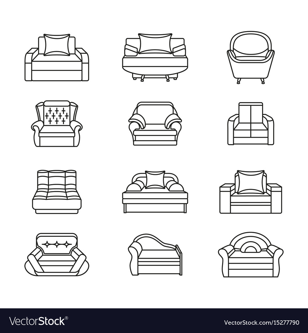 Line icon chair set collection of furniture for vector image