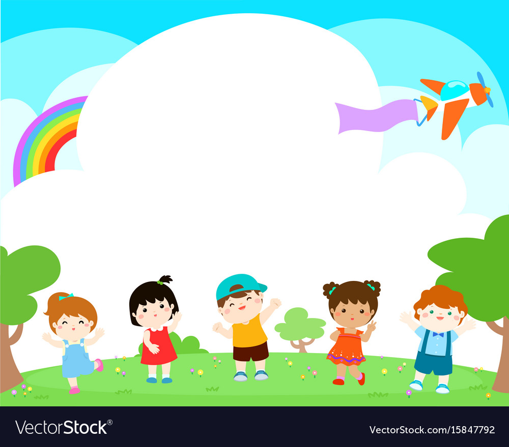 Blank template happy kids poster design vector image
