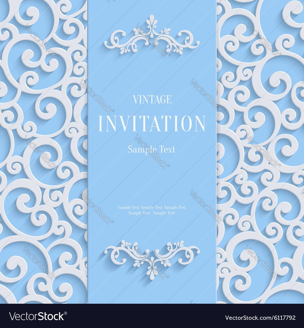 Blue 3d vintage invitation card with swirl vector image stopboris Choice Image