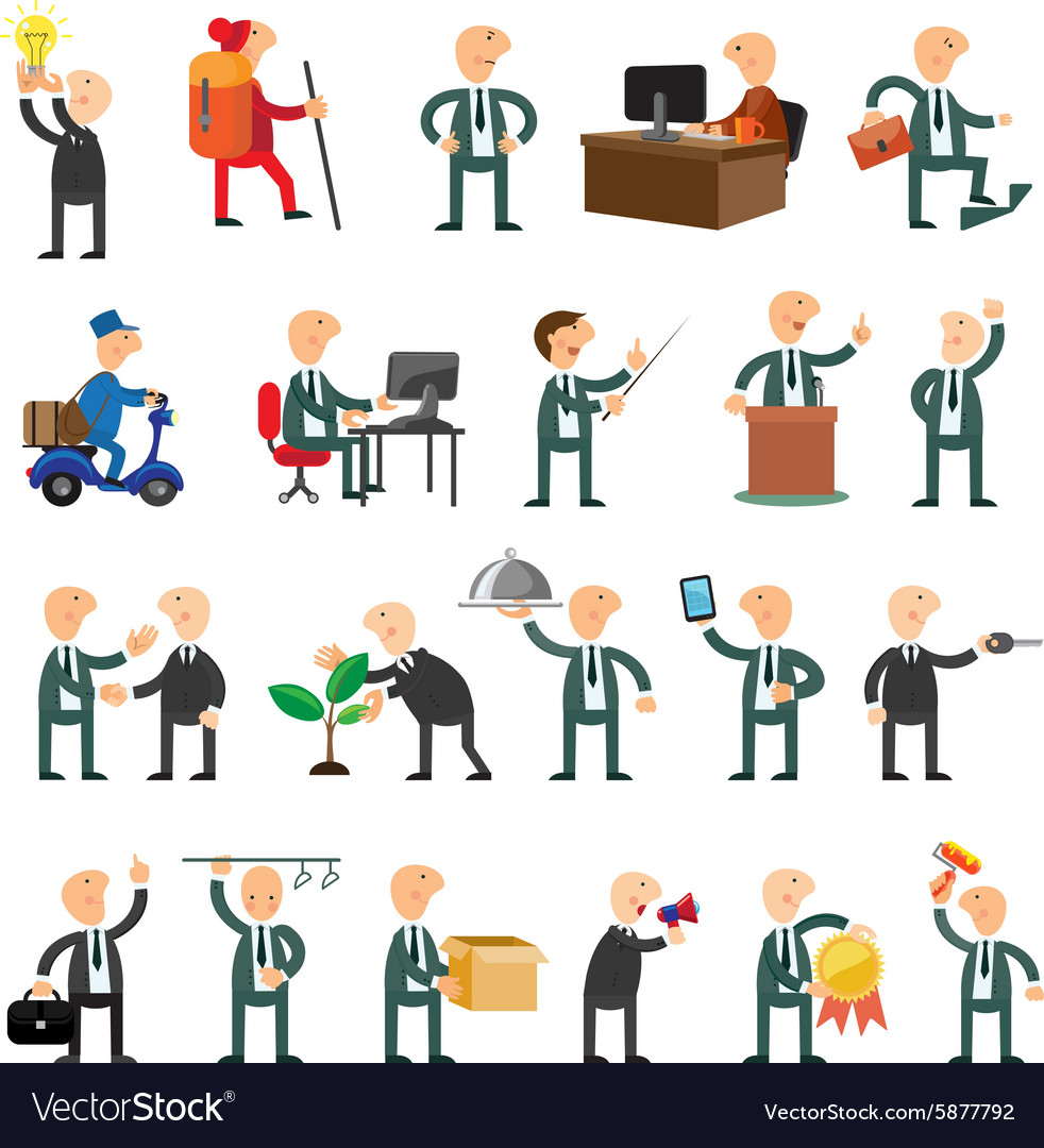 Business peoples set of icons flat design vector image