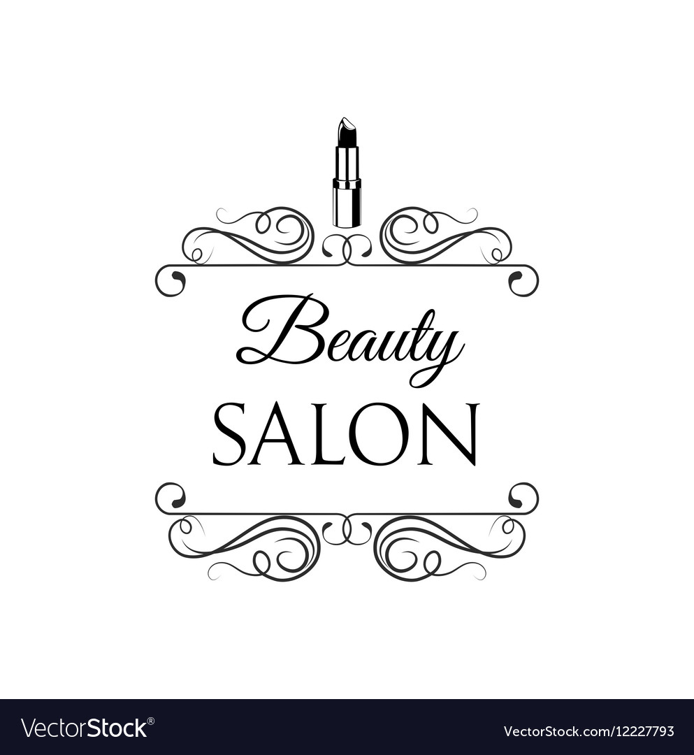 Beauty Salon Label Lips Lipstick Badge Filigree vector image