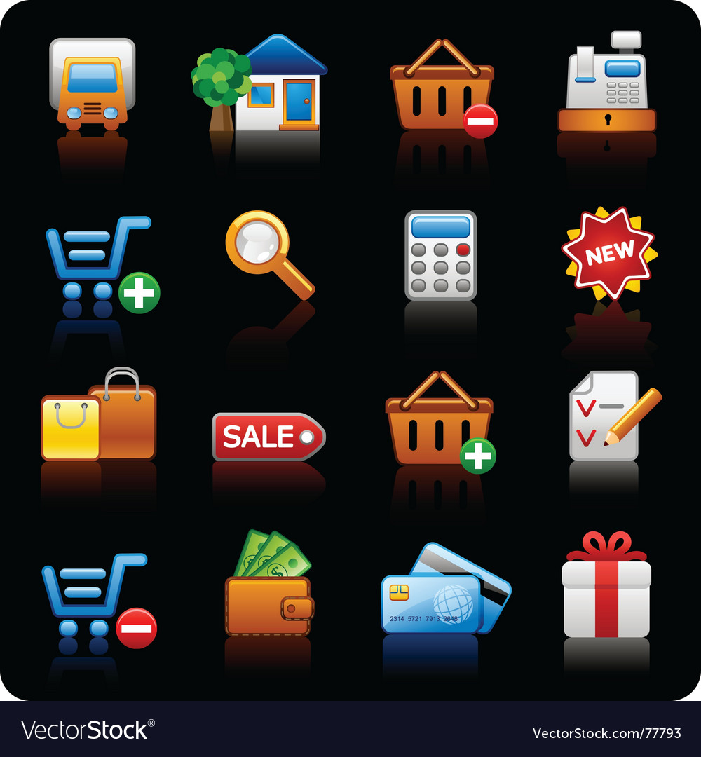 Shopping black background vector image