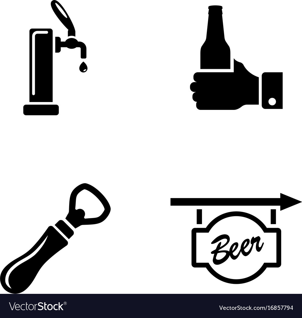 Beer ale simple related icons vector image