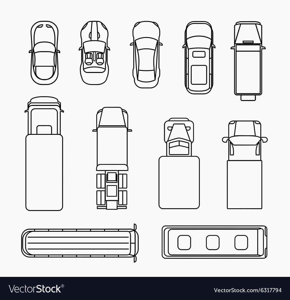 Cars thin line icons top view vector image